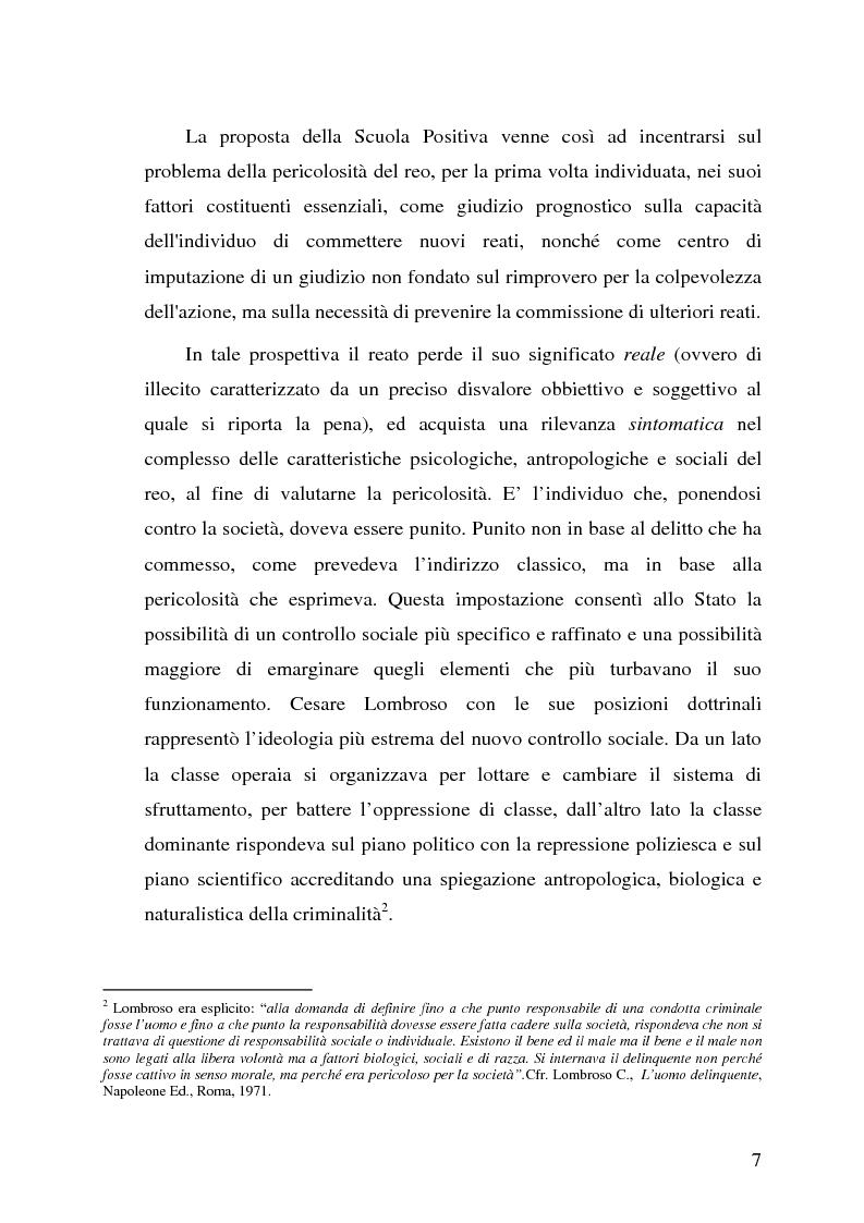 Anteprima della tesi: La pericolosità sociale - Qualità indizianti e prognosi criminale connessa all'applicazione delle misure di prevenzione, Pagina 7