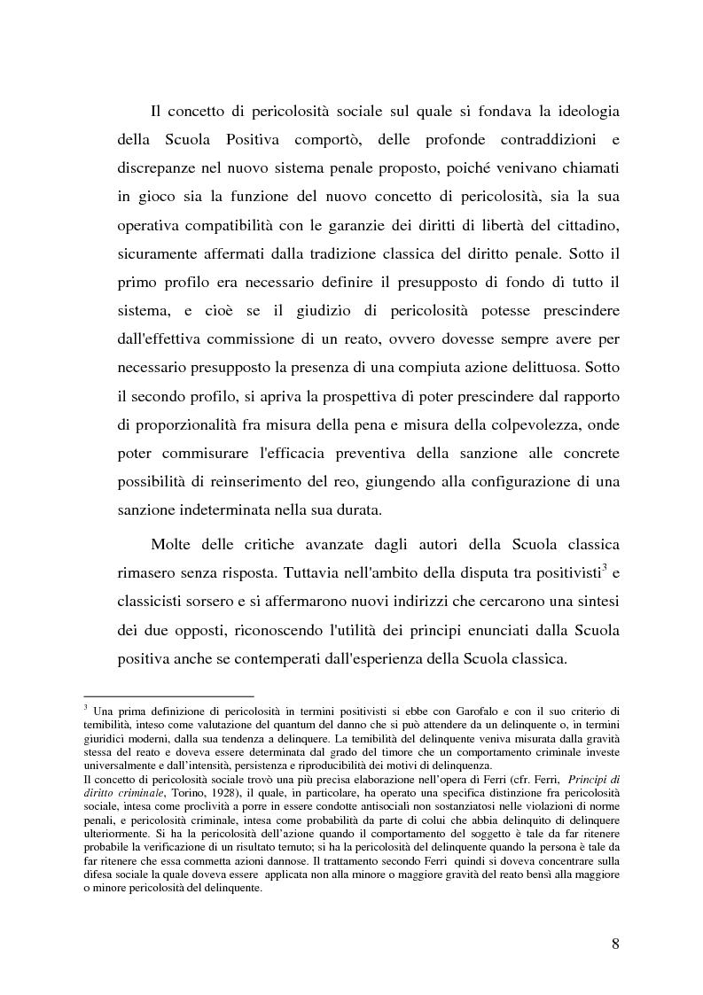 Anteprima della tesi: La pericolosità sociale - Qualità indizianti e prognosi criminale connessa all'applicazione delle misure di prevenzione, Pagina 8