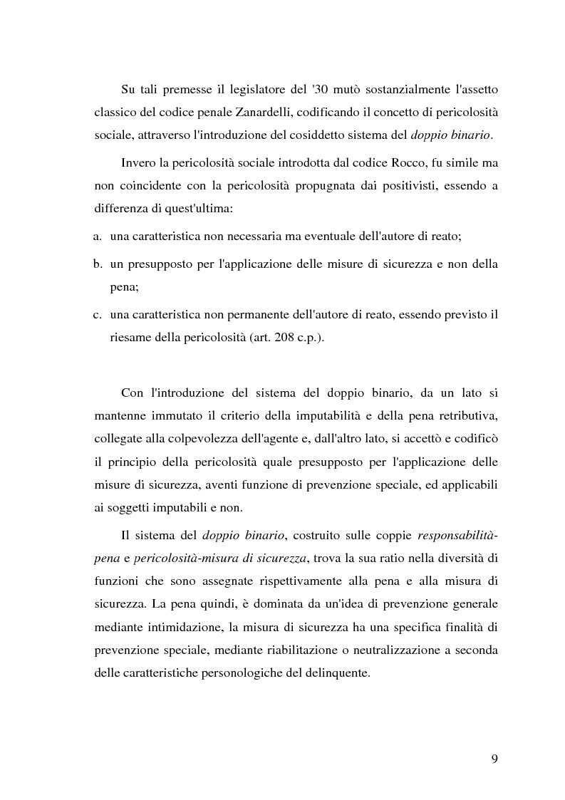 Anteprima della tesi: La pericolosità sociale - Qualità indizianti e prognosi criminale connessa all'applicazione delle misure di prevenzione, Pagina 9