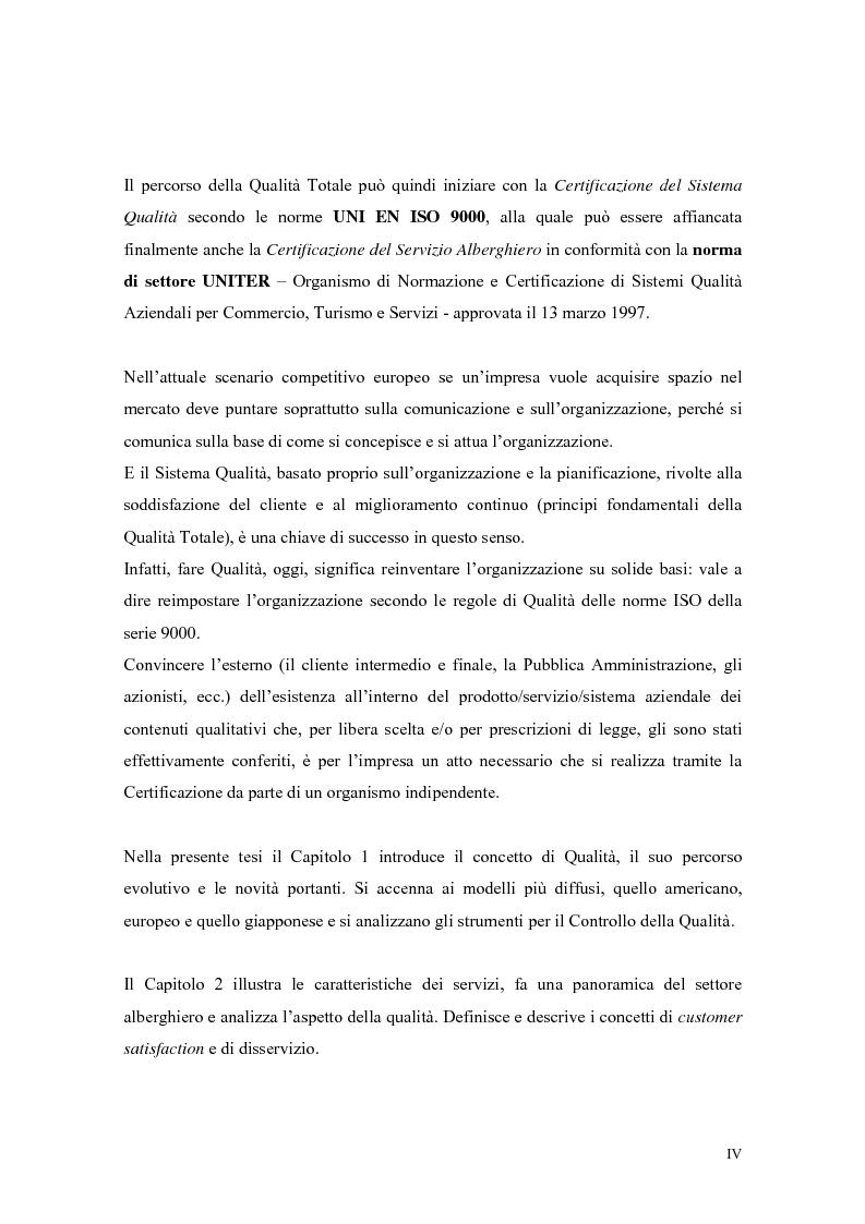 Anteprima della tesi: La qualità nei servizi alberghieri: il caso Hotel Milano, Pagina 4