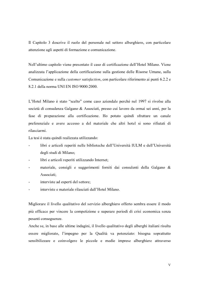 Anteprima della tesi: La qualità nei servizi alberghieri: il caso Hotel Milano, Pagina 5