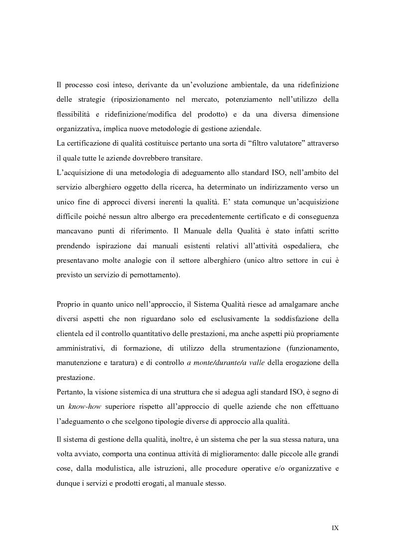 Anteprima della tesi: La qualità nei servizi alberghieri: il caso Hotel Milano, Pagina 9