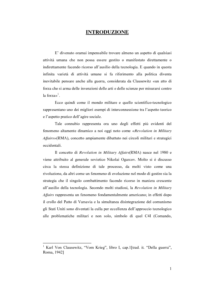Anteprima della tesi: Le tecnologie dual-use: implicazioni per l'economia e per la sicurezza internazionale, Pagina 1