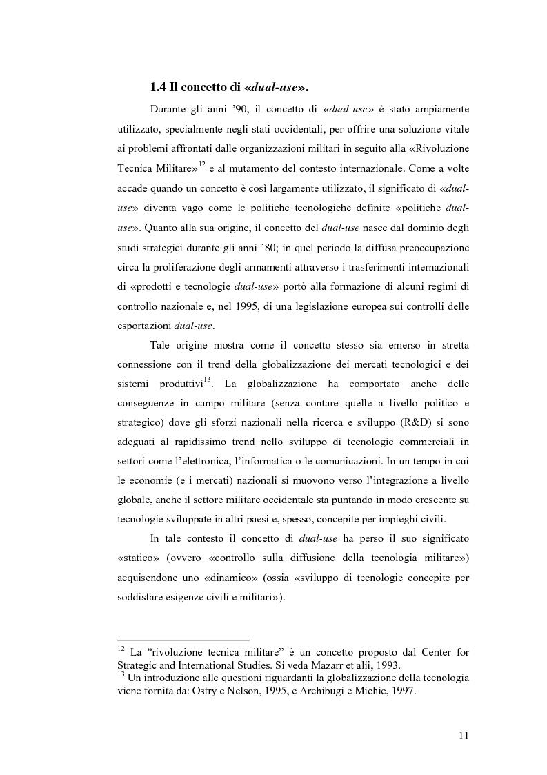 Anteprima della tesi: Le tecnologie dual-use: implicazioni per l'economia e per la sicurezza internazionale, Pagina 11
