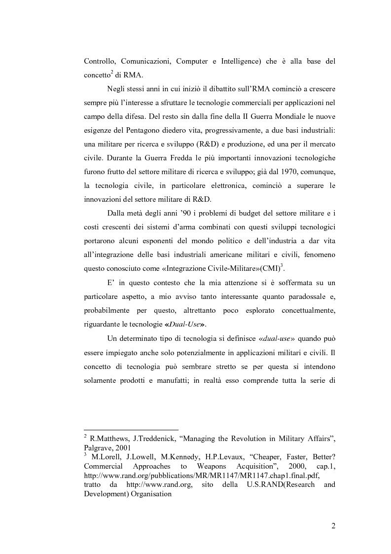 Anteprima della tesi: Le tecnologie dual-use: implicazioni per l'economia e per la sicurezza internazionale, Pagina 2