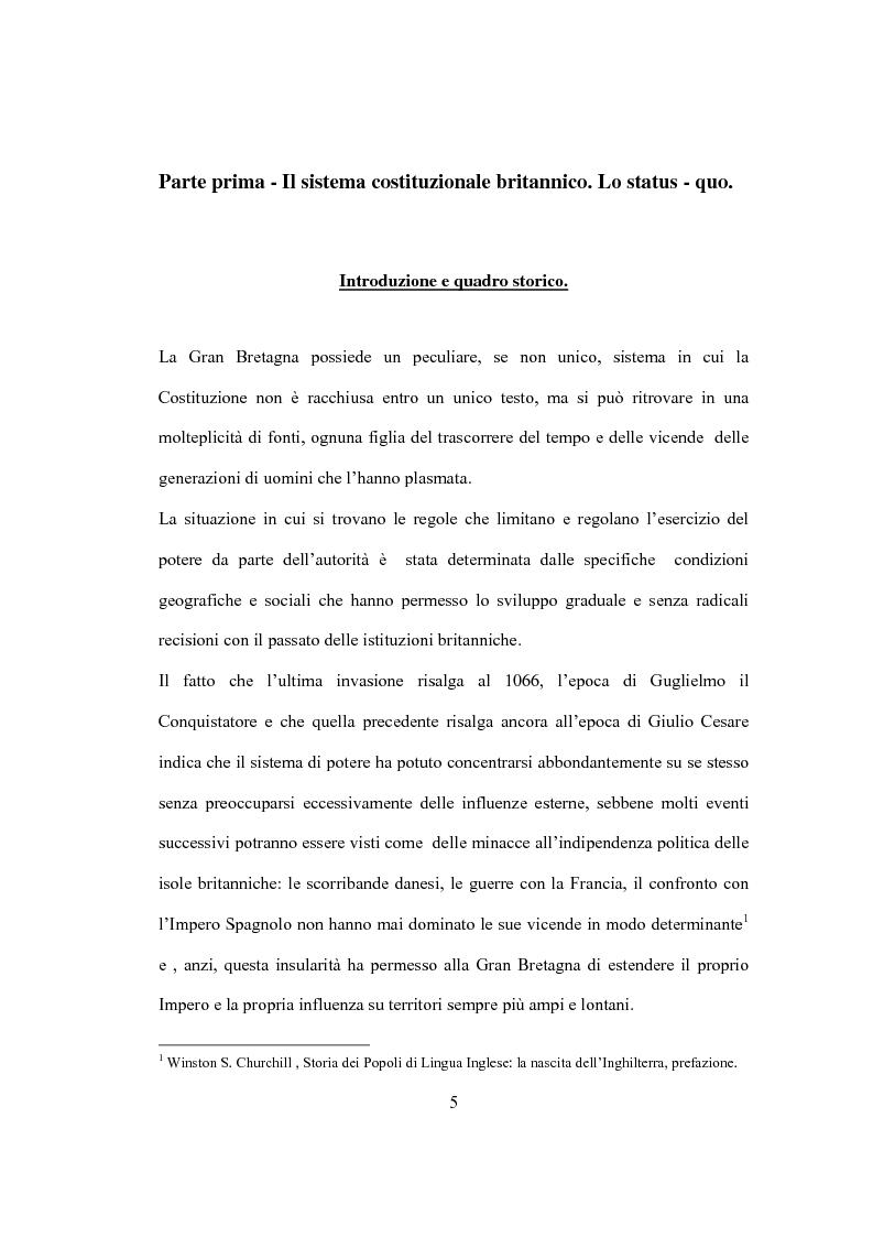 Anteprima della tesi: La Costituzione Britannica tra tradizione e modernizzazione, Pagina 1