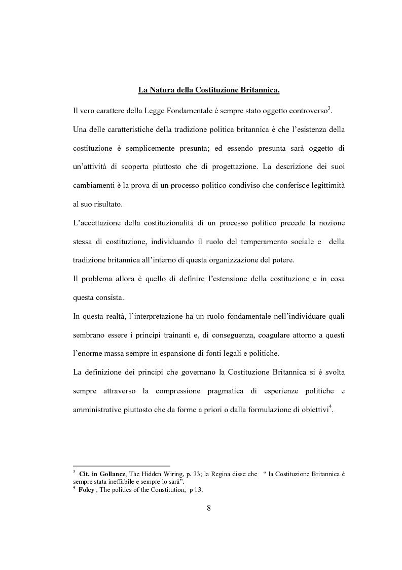 Anteprima della tesi: La Costituzione Britannica tra tradizione e modernizzazione, Pagina 4