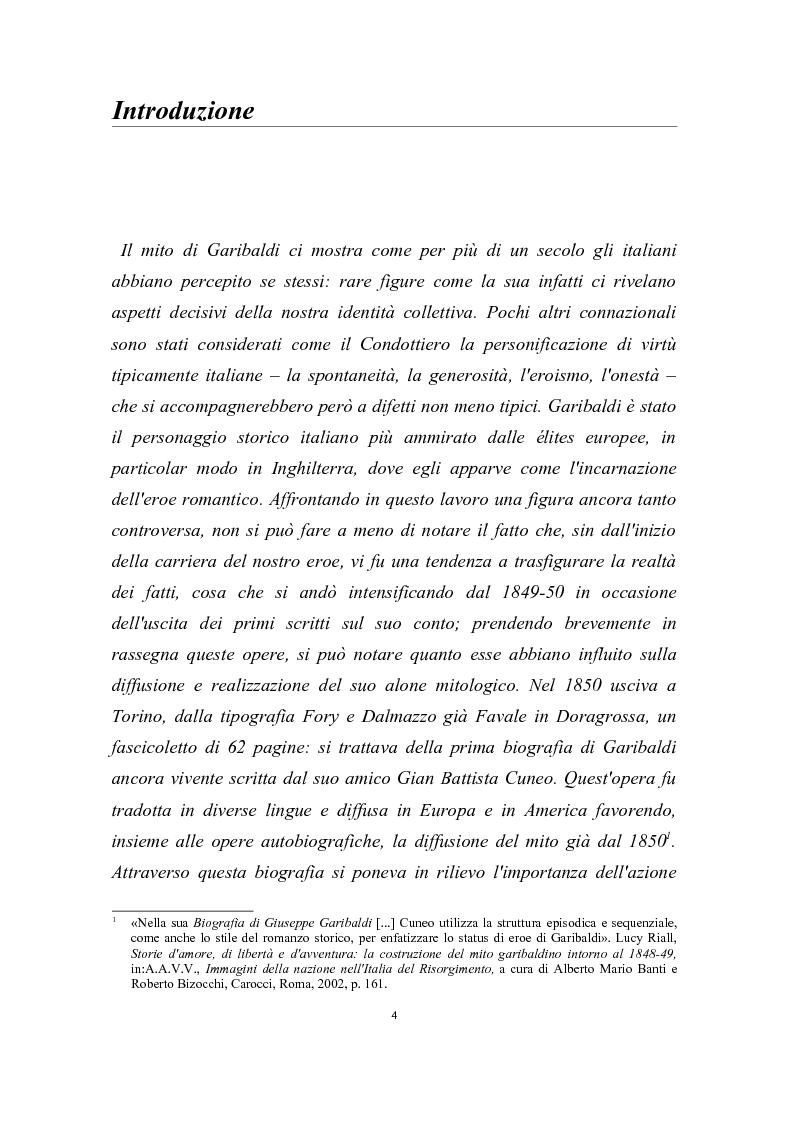 Anteprima della tesi: Garibaldi e il ''garibaldinismo'': Storia di un mito, Pagina 1