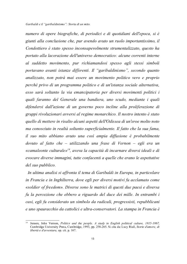 Anteprima della tesi: Garibaldi e il ''garibaldinismo'': Storia di un mito, Pagina 10
