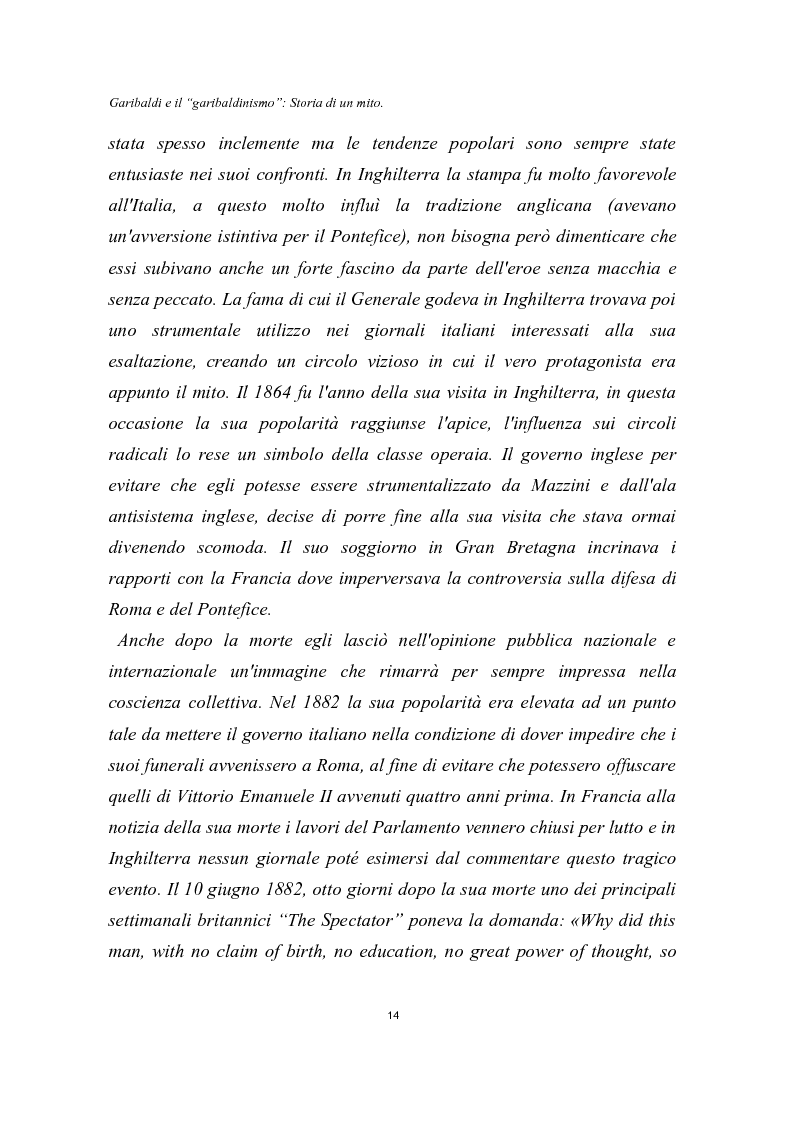 Anteprima della tesi: Garibaldi e il ''garibaldinismo'': Storia di un mito, Pagina 11
