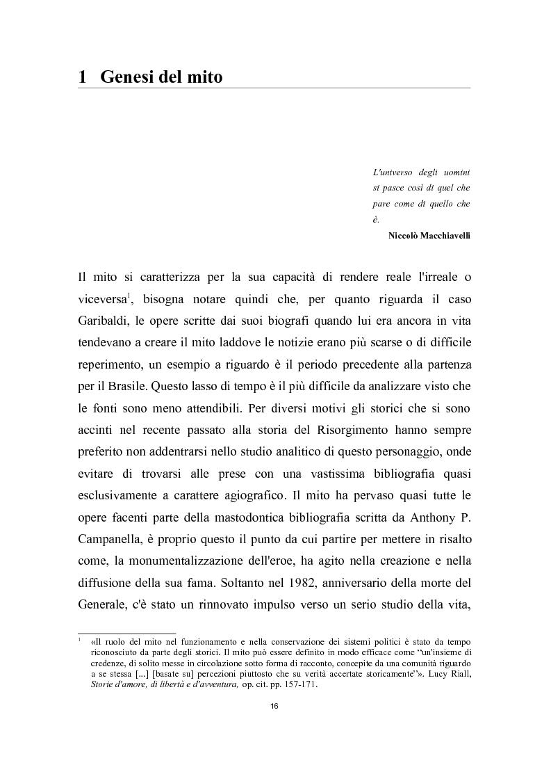 Anteprima della tesi: Garibaldi e il ''garibaldinismo'': Storia di un mito, Pagina 13