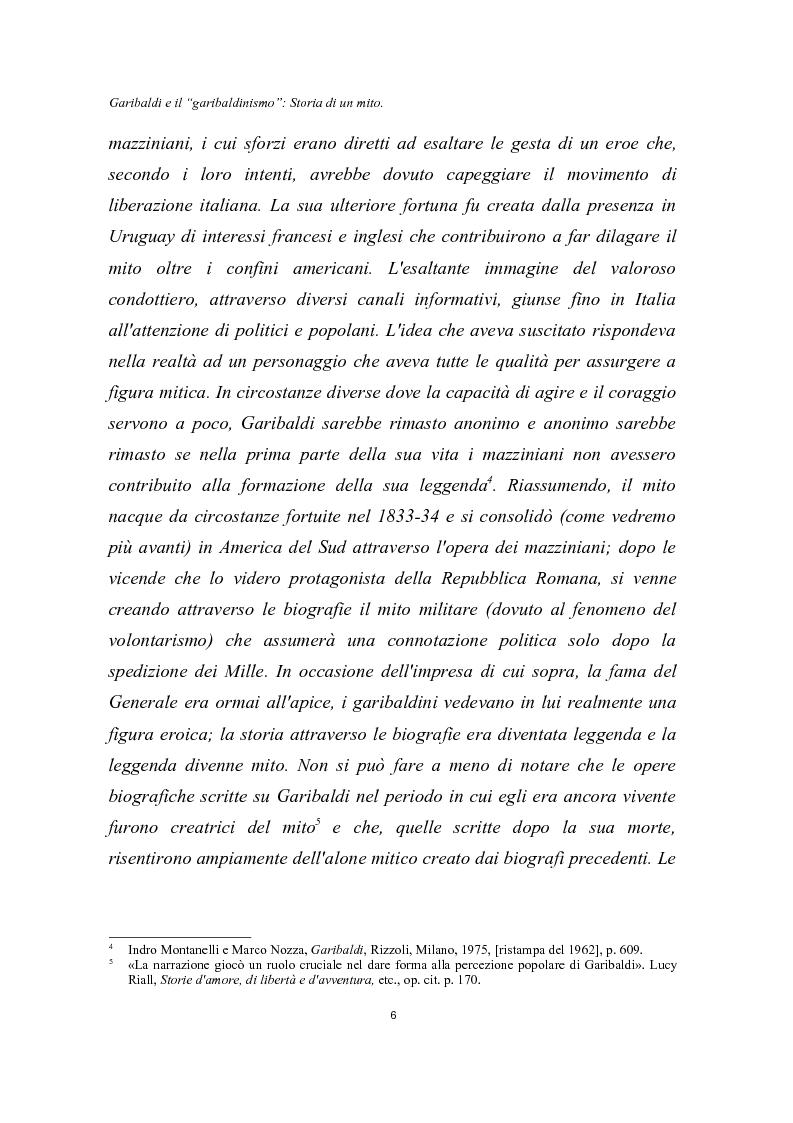 Anteprima della tesi: Garibaldi e il ''garibaldinismo'': Storia di un mito, Pagina 3
