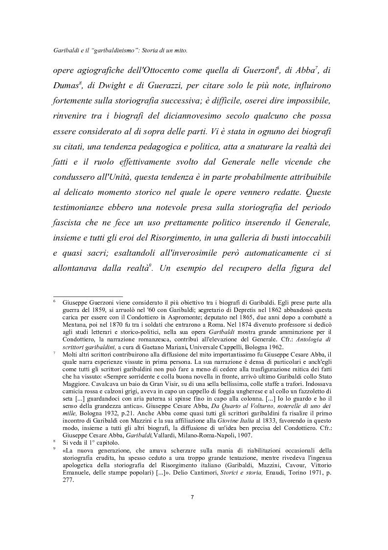 Anteprima della tesi: Garibaldi e il ''garibaldinismo'': Storia di un mito, Pagina 4
