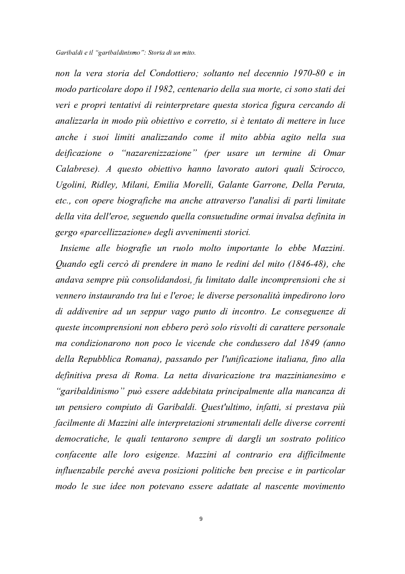 Anteprima della tesi: Garibaldi e il ''garibaldinismo'': Storia di un mito, Pagina 6