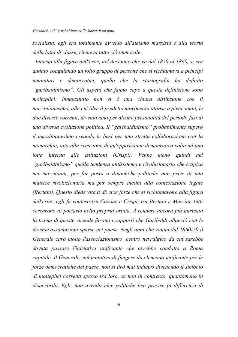 Anteprima della tesi: Garibaldi e il ''garibaldinismo'': Storia di un mito, Pagina 7