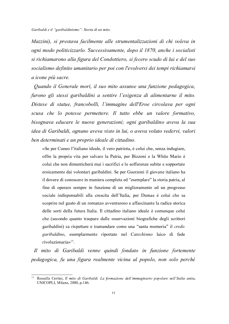 Anteprima della tesi: Garibaldi e il ''garibaldinismo'': Storia di un mito, Pagina 8
