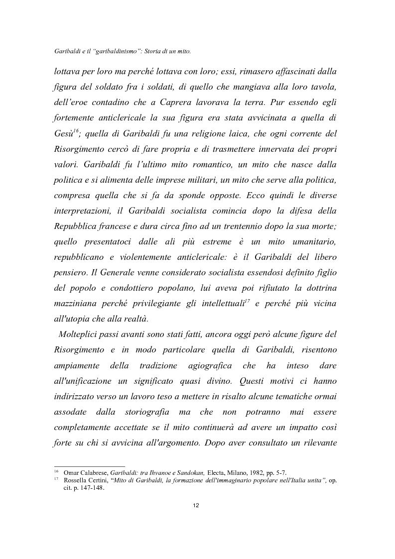 Anteprima della tesi: Garibaldi e il ''garibaldinismo'': Storia di un mito, Pagina 9