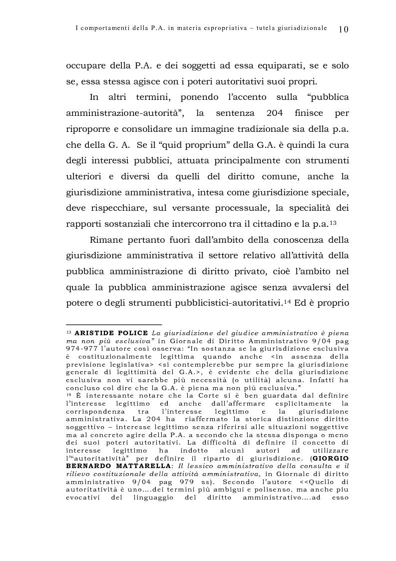 Anteprima della tesi: I comportamenti della pubblica amministrazione in materia espropriativa: tutela giurisdizionale, Pagina 10