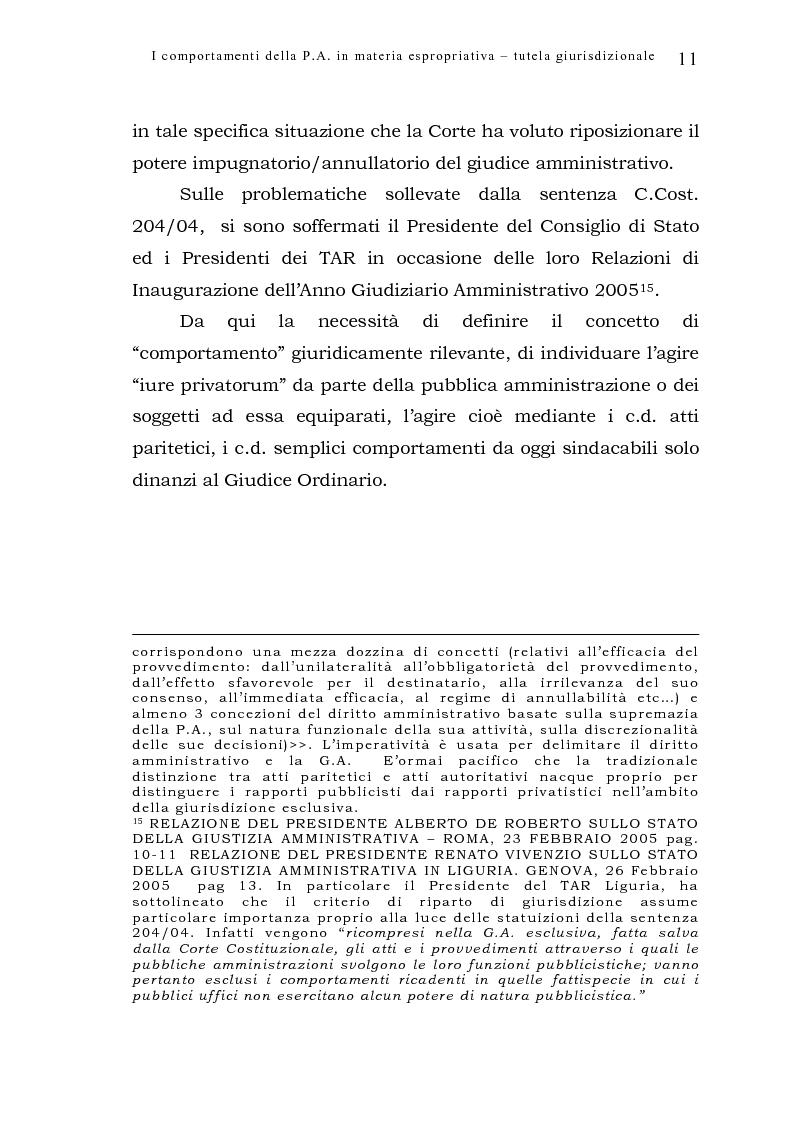 Anteprima della tesi: I comportamenti della pubblica amministrazione in materia espropriativa: tutela giurisdizionale, Pagina 11
