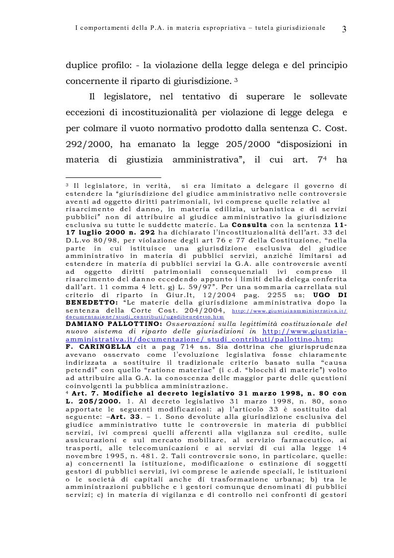 Anteprima della tesi: I comportamenti della pubblica amministrazione in materia espropriativa: tutela giurisdizionale, Pagina 3