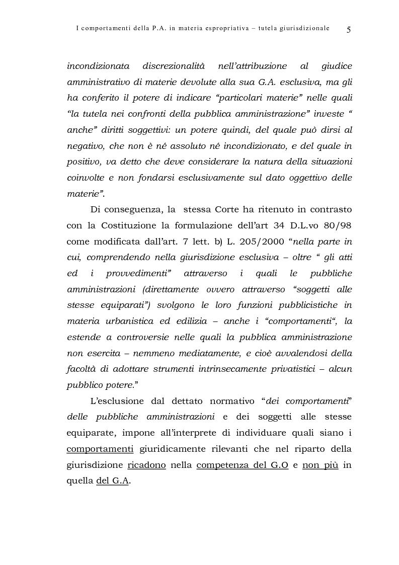 Anteprima della tesi: I comportamenti della pubblica amministrazione in materia espropriativa: tutela giurisdizionale, Pagina 5