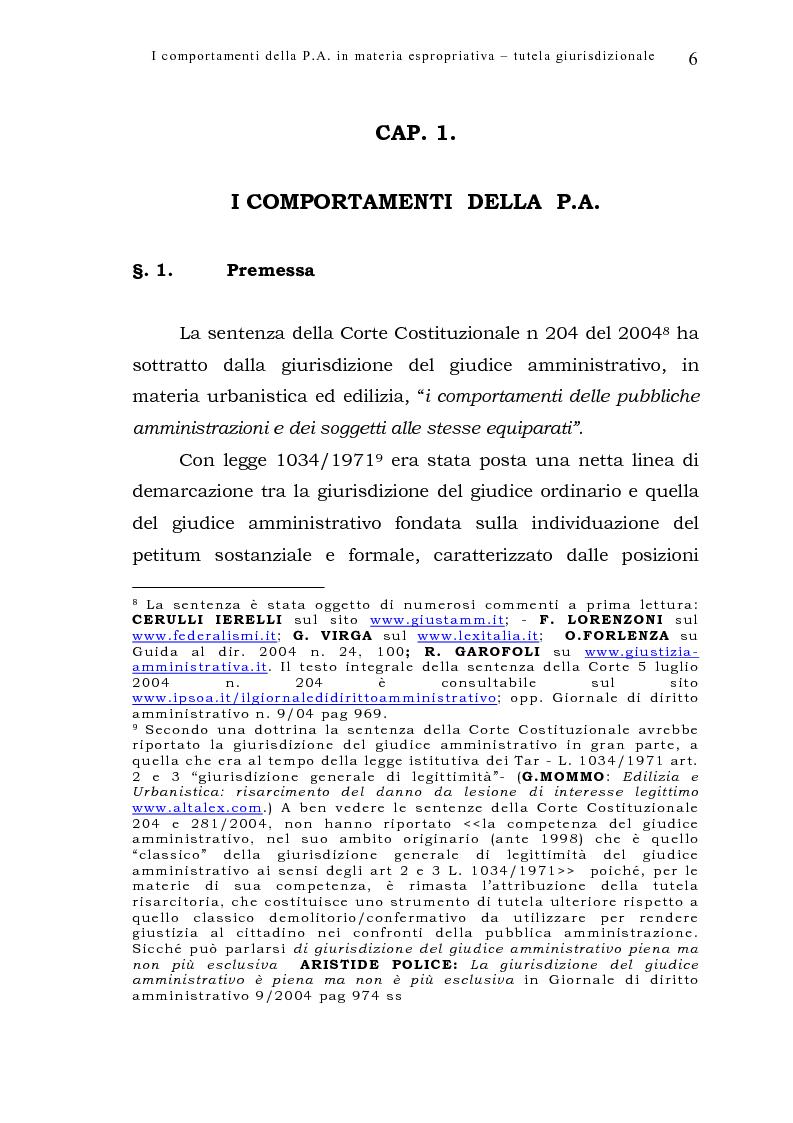 Anteprima della tesi: I comportamenti della pubblica amministrazione in materia espropriativa: tutela giurisdizionale, Pagina 6