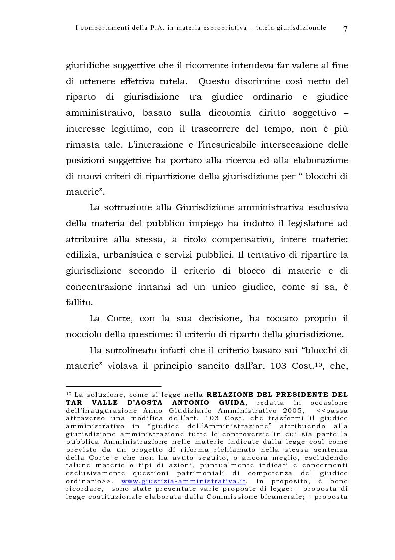Anteprima della tesi: I comportamenti della pubblica amministrazione in materia espropriativa: tutela giurisdizionale, Pagina 7