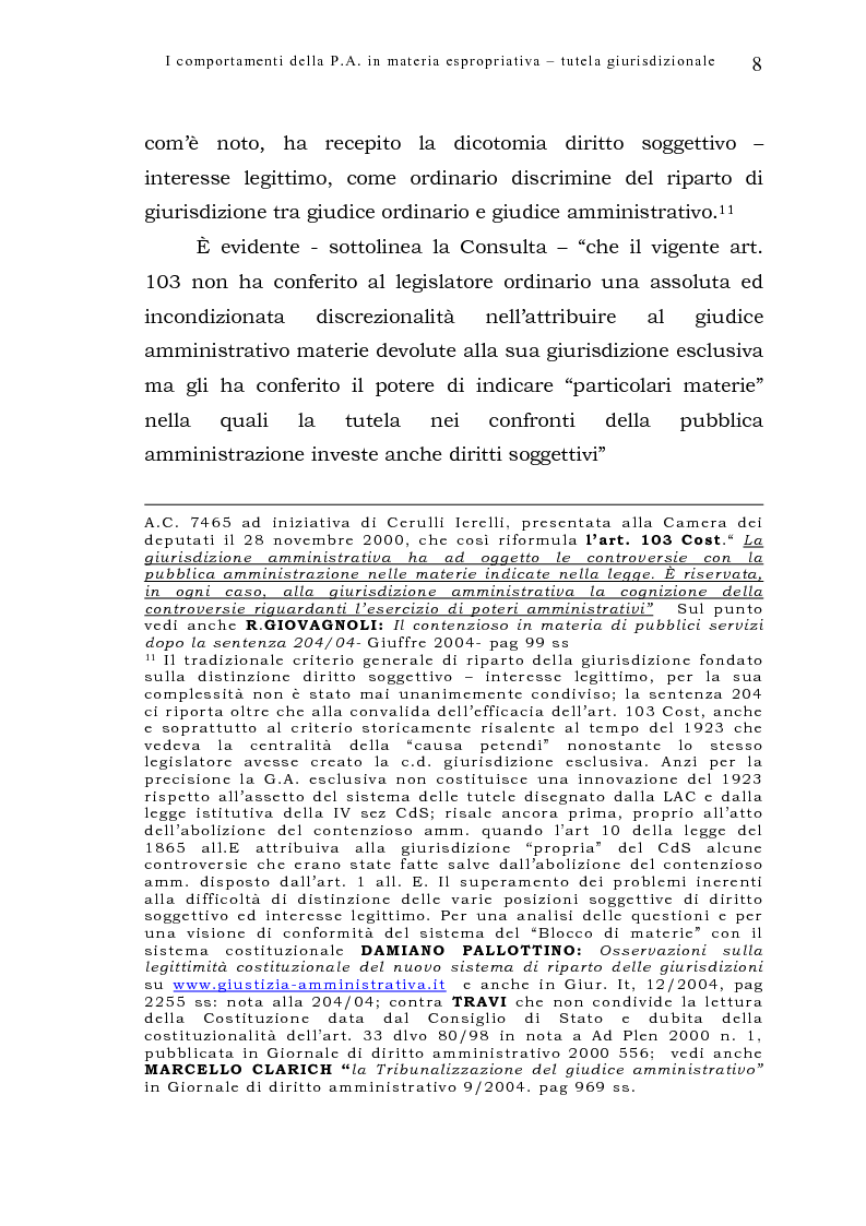 Anteprima della tesi: I comportamenti della pubblica amministrazione in materia espropriativa: tutela giurisdizionale, Pagina 8