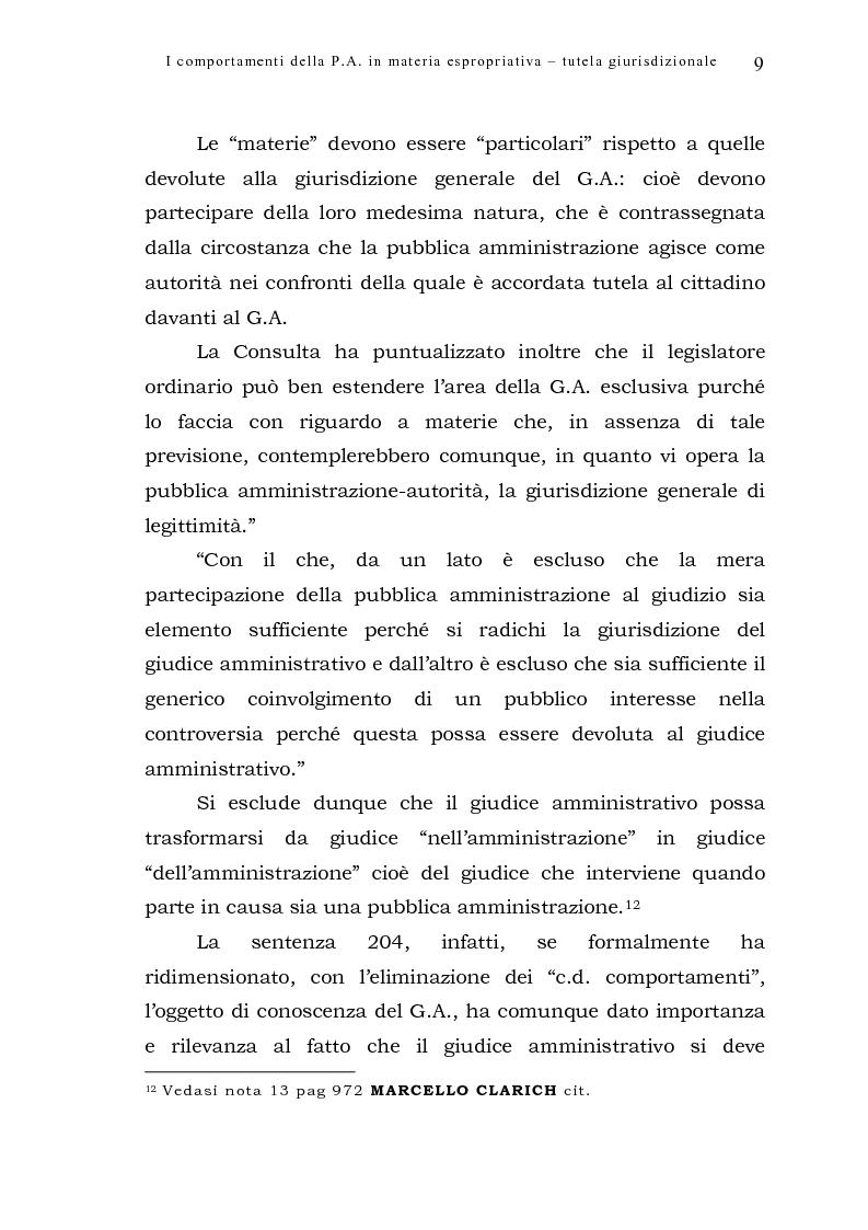 Anteprima della tesi: I comportamenti della pubblica amministrazione in materia espropriativa: tutela giurisdizionale, Pagina 9