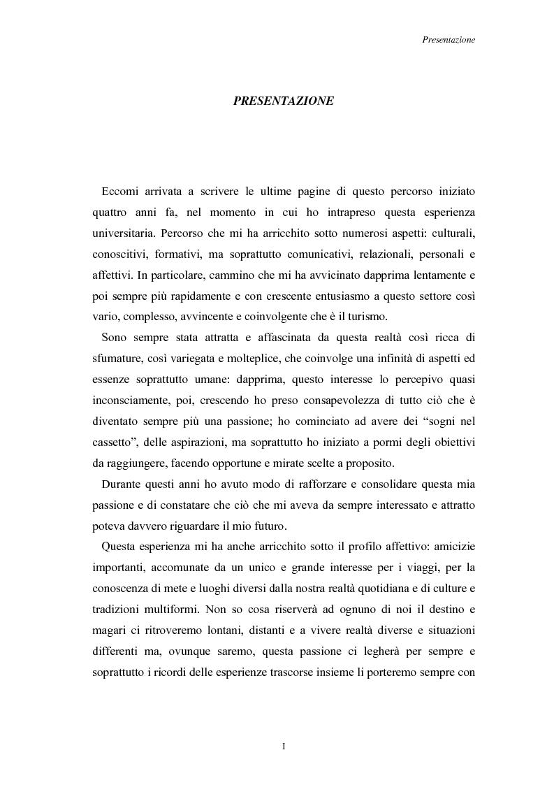 Anteprima della tesi: L'Assistenza Turistica: il Valore Aggiunto della vacanza organizzata, Pagina 1