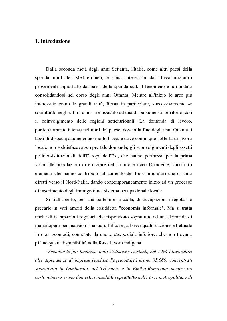 Anteprima della tesi: Immigrazione extracomunitaria e lavoro in Veneto: il caso del comune di Oderzo, Pagina 1