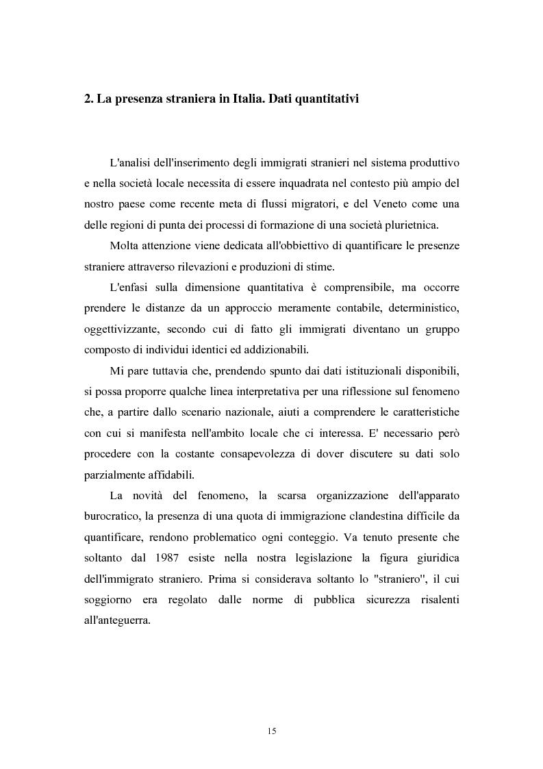 Anteprima della tesi: Immigrazione extracomunitaria e lavoro in Veneto: il caso del comune di Oderzo, Pagina 11