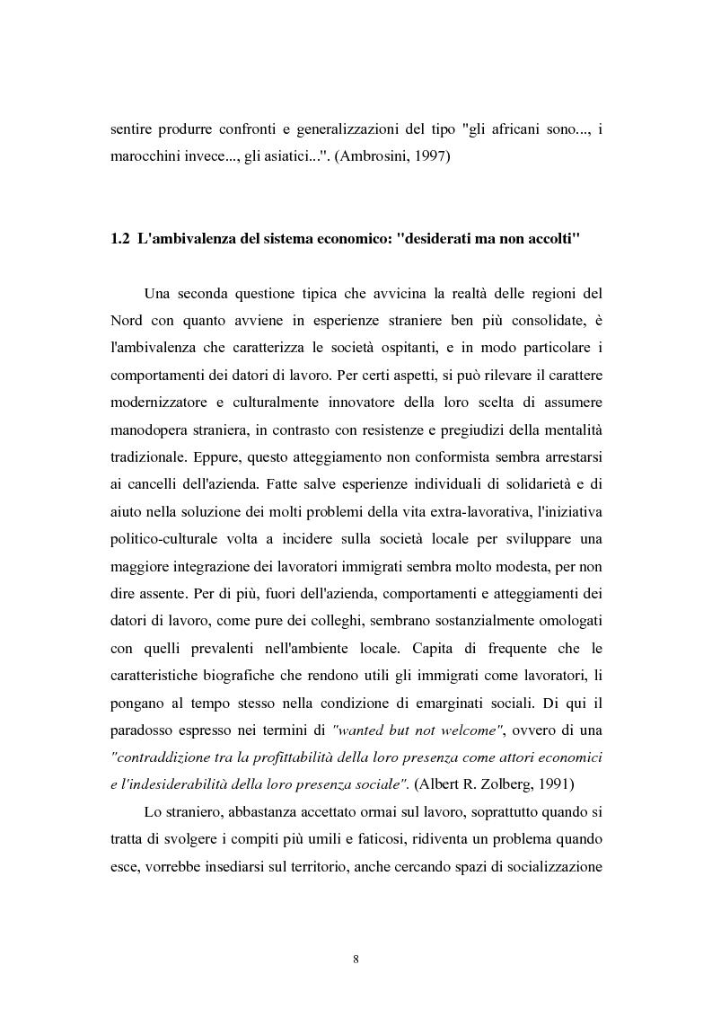 Anteprima della tesi: Immigrazione extracomunitaria e lavoro in Veneto: il caso del comune di Oderzo, Pagina 4