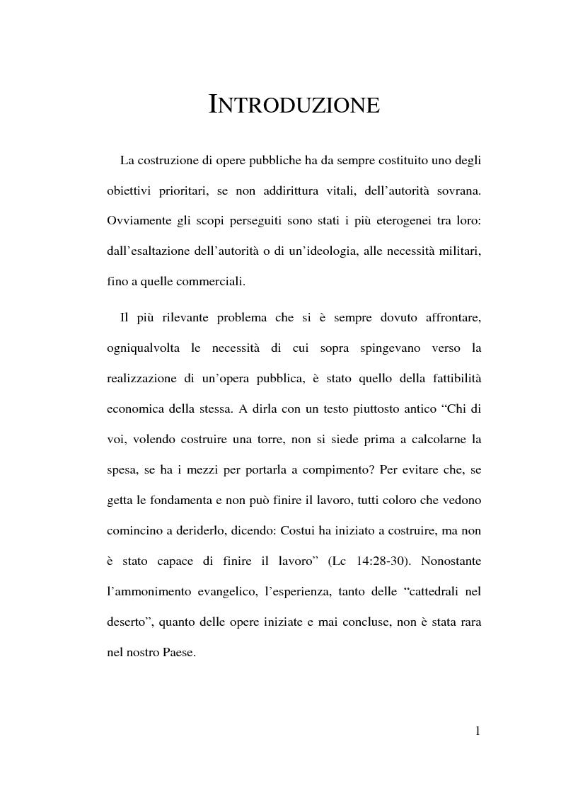 Anteprima della tesi: Il Finanziamento Privato delle infrastrutture pubbliche, Pagina 1