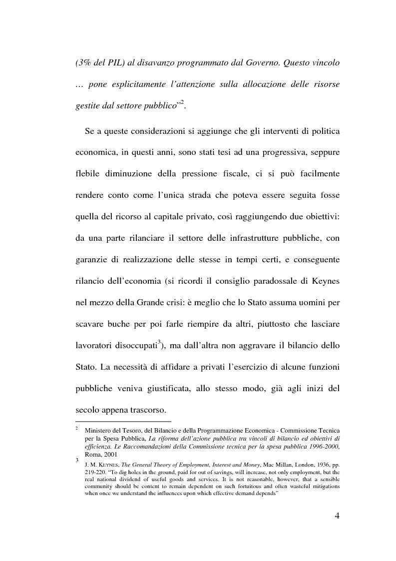 Anteprima della tesi: Il Finanziamento Privato delle infrastrutture pubbliche, Pagina 4