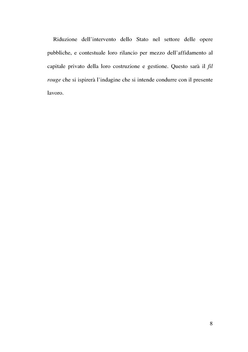 Anteprima della tesi: Il Finanziamento Privato delle infrastrutture pubbliche, Pagina 8
