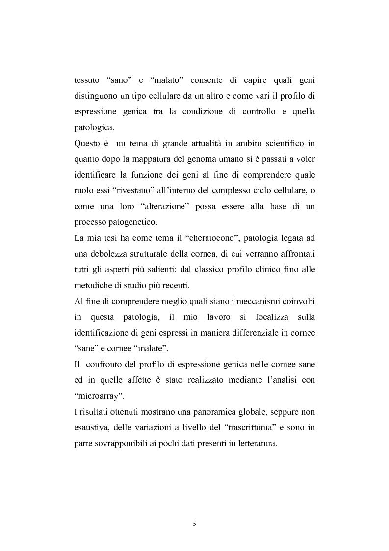 Anteprima della tesi: Studio del profilo di espressione genica in cornee sane ed in cornee affette da cheratocono., Pagina 2