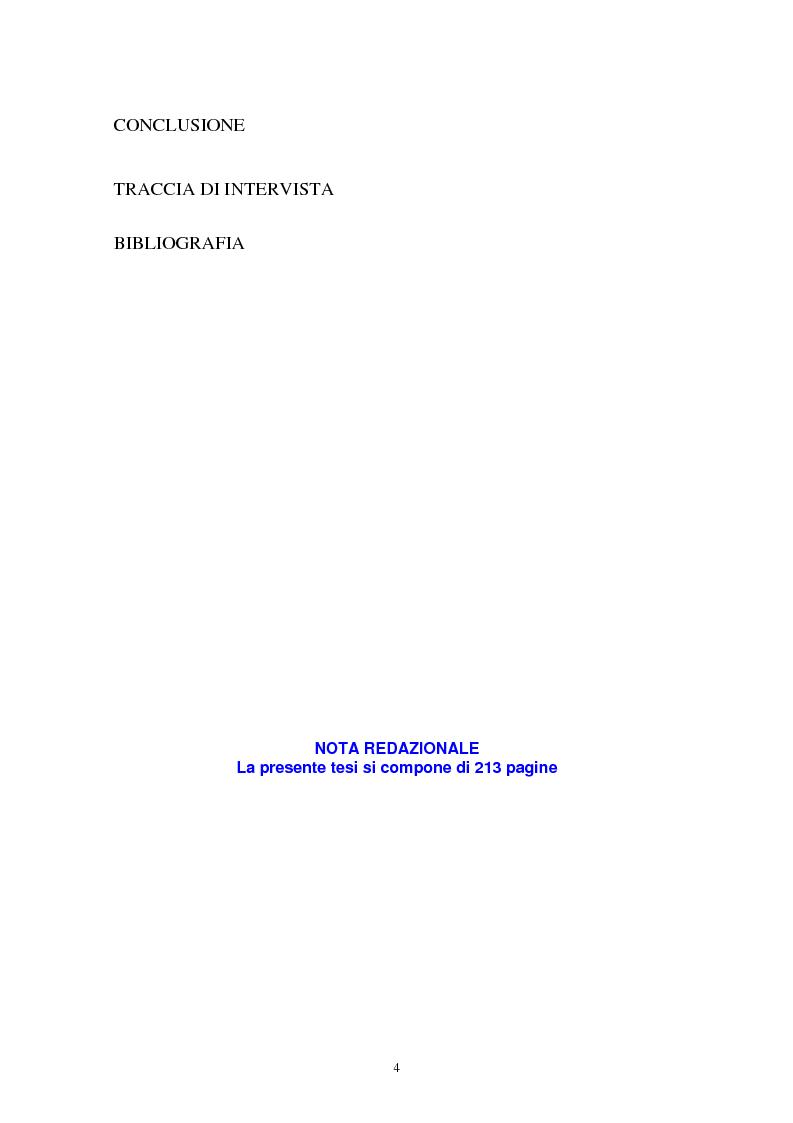 Indice della tesi: Donne in carriera e carriere di donne: il caso delle docenti universitarie, Pagina 3