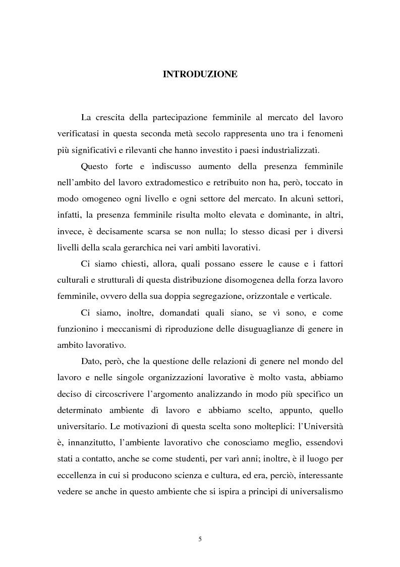 Anteprima della tesi: Donne in carriera e carriere di donne: il caso delle docenti universitarie, Pagina 1
