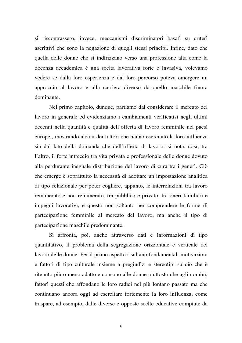Anteprima della tesi: Donne in carriera e carriere di donne: il caso delle docenti universitarie, Pagina 2