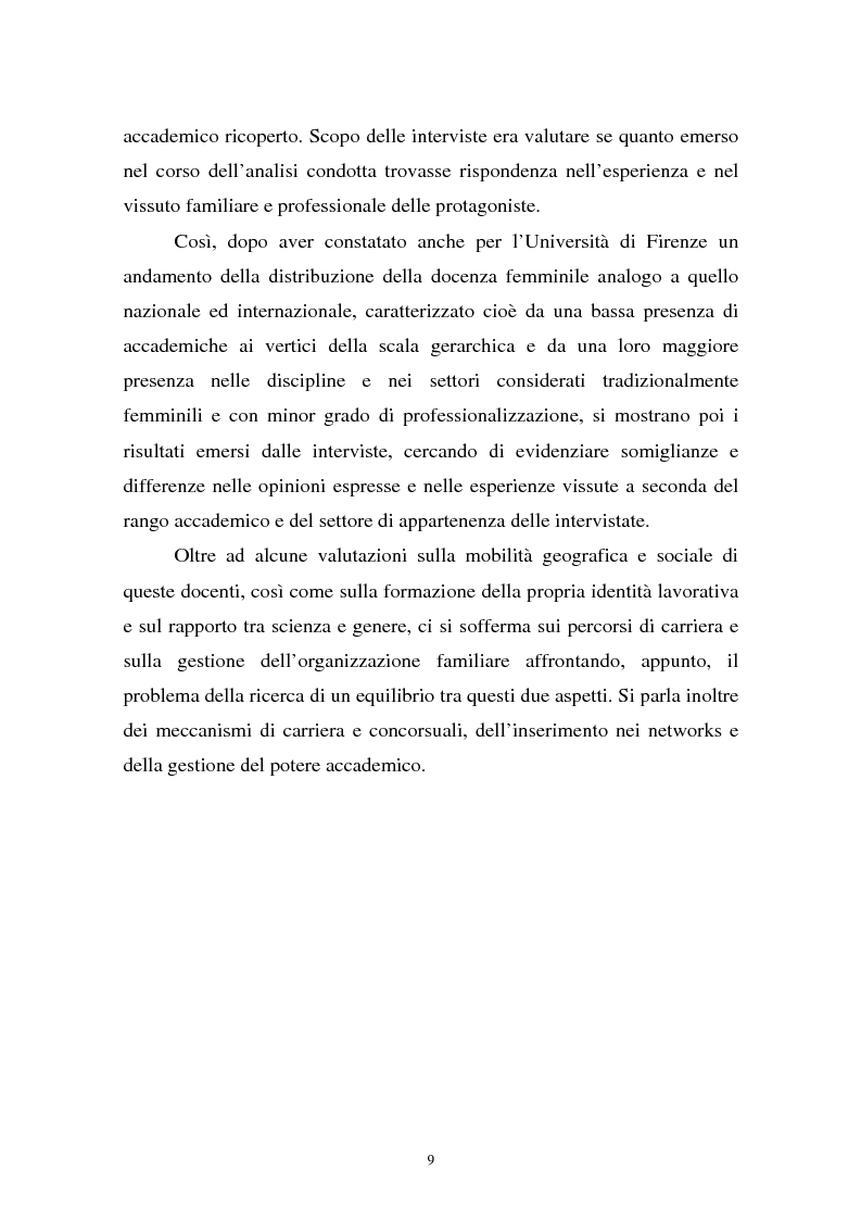 Anteprima della tesi: Donne in carriera e carriere di donne: il caso delle docenti universitarie, Pagina 5