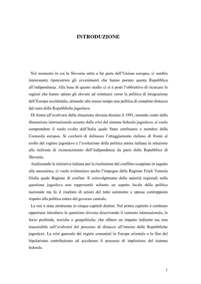 Anteprima della tesi: La secessione slovena, l'Italia e la Regione Friuli Venezia Giulia durante la crisi, Pagina 1