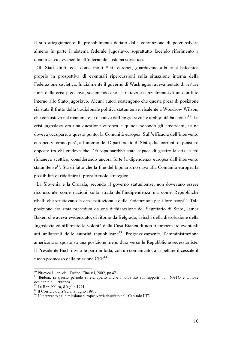 Anteprima della tesi: La secessione slovena, l'Italia e la Regione Friuli Venezia Giulia durante la crisi, Pagina 10