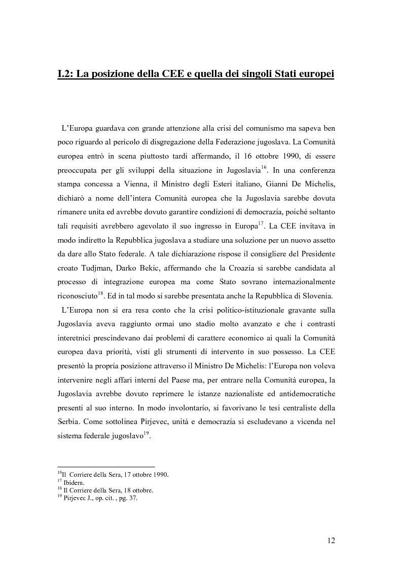 Anteprima della tesi: La secessione slovena, l'Italia e la Regione Friuli Venezia Giulia durante la crisi, Pagina 12