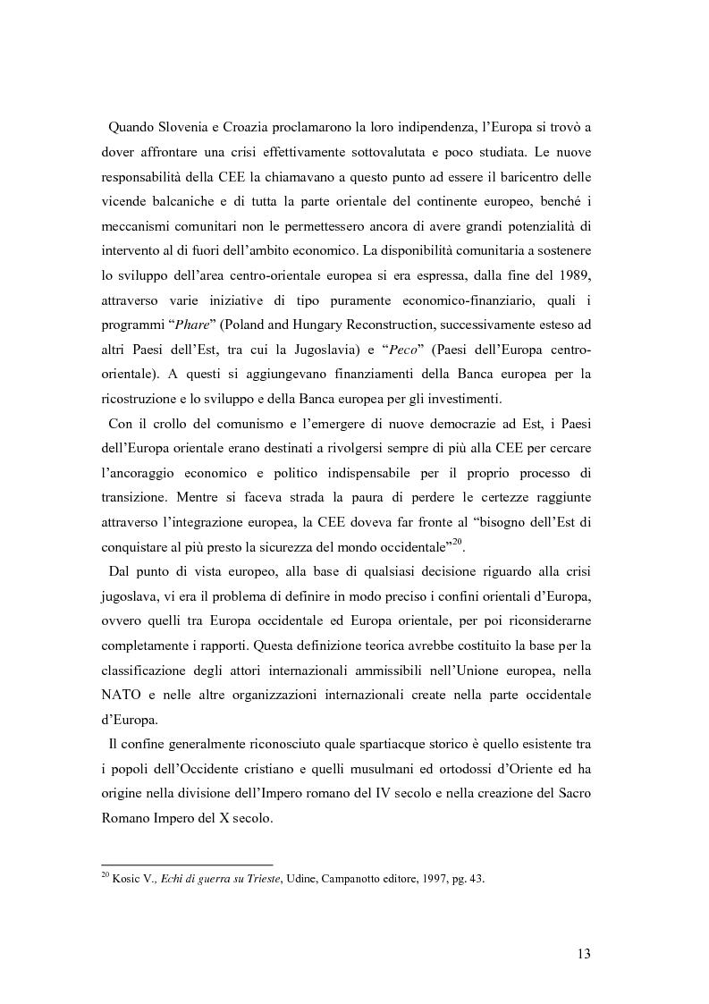 Anteprima della tesi: La secessione slovena, l'Italia e la Regione Friuli Venezia Giulia durante la crisi, Pagina 13