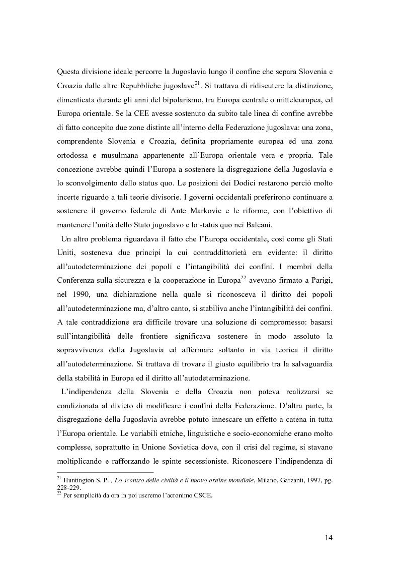 Anteprima della tesi: La secessione slovena, l'Italia e la Regione Friuli Venezia Giulia durante la crisi, Pagina 14