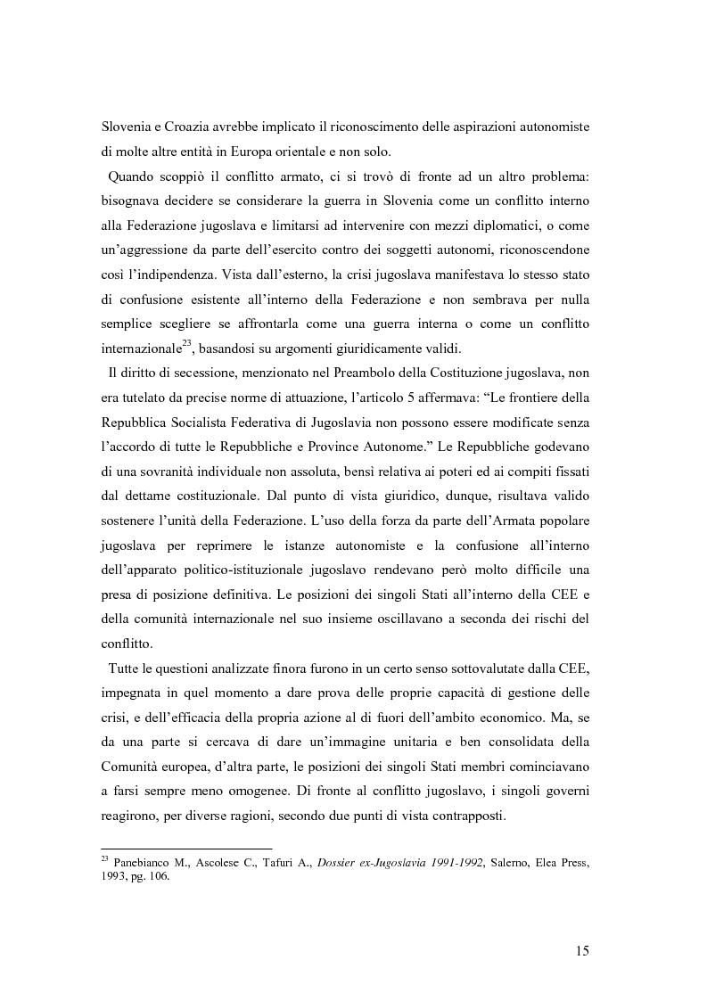 Anteprima della tesi: La secessione slovena, l'Italia e la Regione Friuli Venezia Giulia durante la crisi, Pagina 15