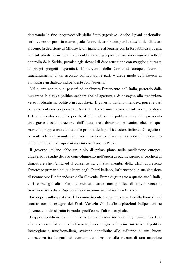 Anteprima della tesi: La secessione slovena, l'Italia e la Regione Friuli Venezia Giulia durante la crisi, Pagina 3