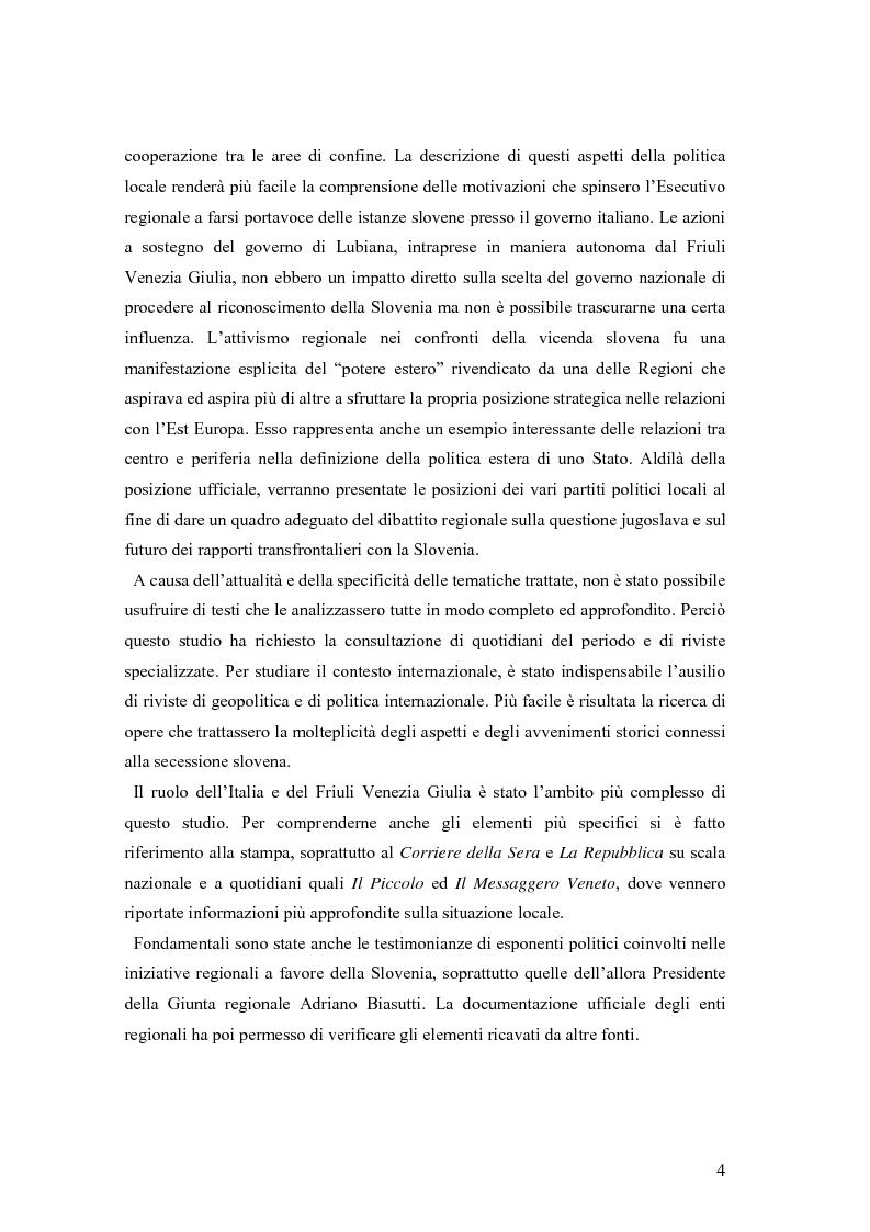 Anteprima della tesi: La secessione slovena, l'Italia e la Regione Friuli Venezia Giulia durante la crisi, Pagina 4