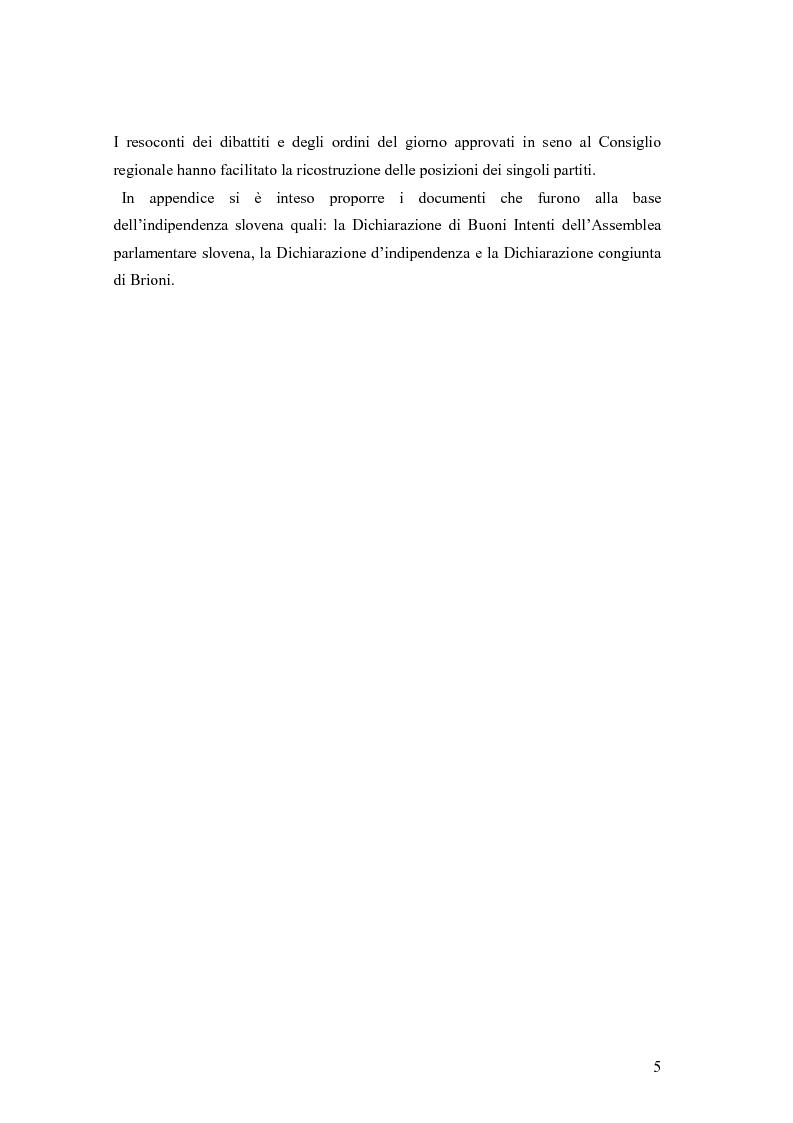 Anteprima della tesi: La secessione slovena, l'Italia e la Regione Friuli Venezia Giulia durante la crisi, Pagina 5